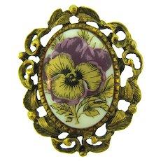 Vintage floral transfer on porcelain Brooch with gold tone frame
