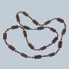Vintage garnet beaded eternity Necklace