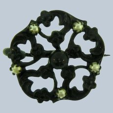 Vintage petite Mourning Scatter Pin with seed pearls