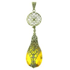 Vintage long drop Pendant with large amber faceted glass stone