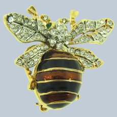 Vintage figural bug Brooch with black and brown enamel and crystal and green rhinestones