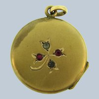 Vintage gold filled Locket with rhinestones