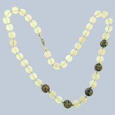 Vintage pink quartz and cloisonne beaded Necklace