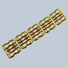 Vintage wide link gold tone Bracelet with brown enamel