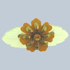 Vintage celluloid floral Brooch with amber rhinestone