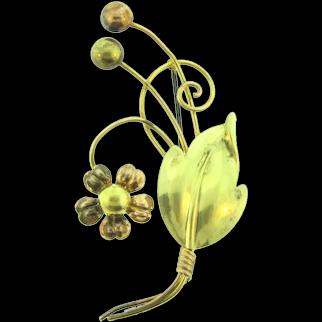 Signed Van Dell 1/20 12 KT over Sterling silver vermeil floral Brooch