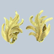 Signed Crown Trifari brushed gold tone clip-on Earrings