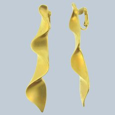 Vintage long gold tone clip-on Earrings