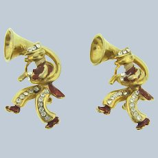 Vintage matching pair of figural tuba players Scatter Pins with crystal rhinestones and enamel