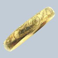 Vintage monogrammed tubular gold filled Bracelet