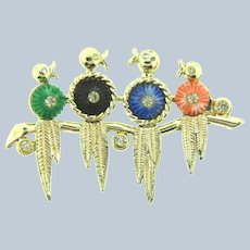 Vintage figural birds on a branch Brooch with rhinestones and colorful ribbed cabochons