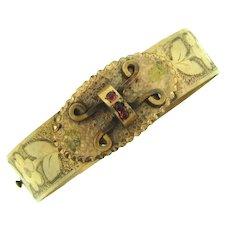 Signed W.E.W. & Co,  gold filled adjustable buckle bangle Bracelet