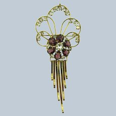Signed M&S 1/20 12KT gold filled retro Brooch with purple and crystal rhinestones