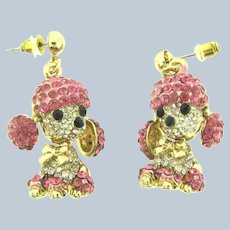 Vintage articulated figural poodle dog rhinestone Earrings for pierced ears