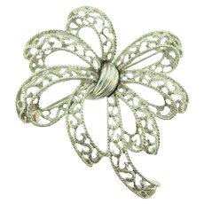 Signed Crown Trifari silver tone bow Brooch