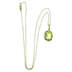 Vintage gold filled Pendant Necklace with yellow glass stone