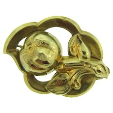 Vintage early hollow floral gold filled Brooch
