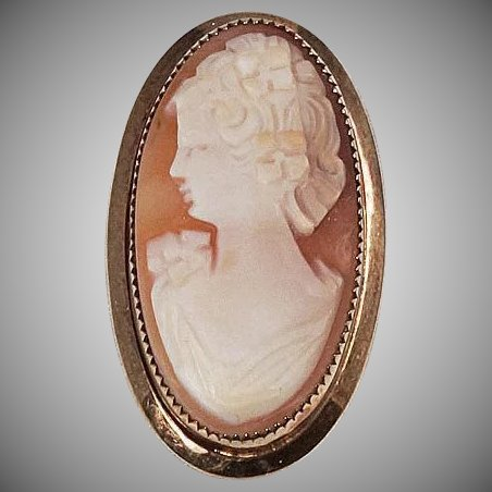 Raised Shell Cameo Brooch Left Facing Gold Filled Frame