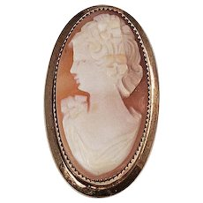 Raised shell Cameo brooch left facing gold filled frame signed