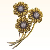 Made in Argentina floral brooch with lavender stones