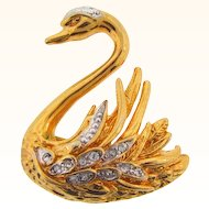 Bright gold tone figural Swan Brooch with crystal rhinestones