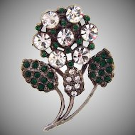 1940's white metal floral Dress Clip with rhinestones