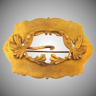 Victorian gold tone buckle Sash Pin with floral design