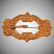Victorian gold tone buckle Sash pin with an ornate design
