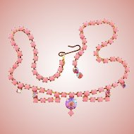 Vintage opaque pink bead choker Necklace with pink AB stones