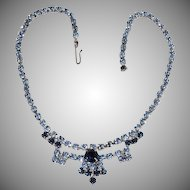 Rhinestone adjustable choker necklace shades of blue