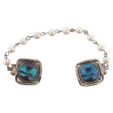Vintage Sweater Guard with imitation pearls and Morpho Butterfly Wing clips