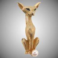 Signed Boucher 7871 Siamese cat brooch