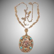 Pendant necklace West Germany Turquoise glass beads gold tone