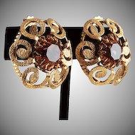 Designer signed Freirich ear clips Topaz rhinestone gold tone