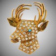 Large gold wash deer head Brooch with rhinestones