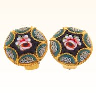 Marked Italy floral mosaic clip on earrings