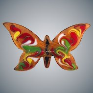 Vibrant colored glaze over copper vintage butterfly Brooch