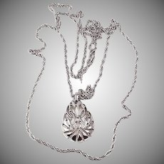 Crown Trifari twisted double chain necklace with pendant silver tone