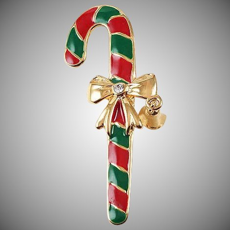 Candy Cane Christmas Brooch Red Green Enameling Click To Expand