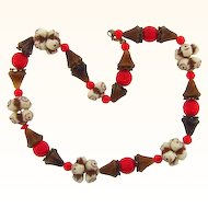 Unique early choker necklace of ceramic and glass beads in Autumn colors