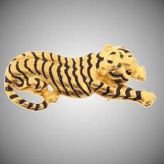 Signed Danecraft tiger gold tone Brooch