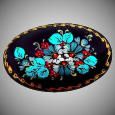 Signed Black Lacquer oval Russian folk art floral Brooch