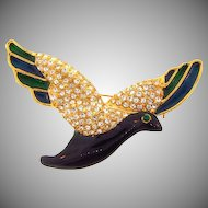 Gorgeous dove Brooch with pave set rhinestone wings