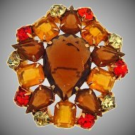 Vintage rhinestone Brooch in Autumn colors