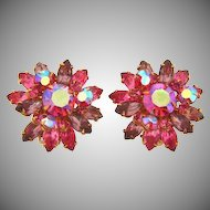 Signed BeauJewels bright pink and lavender rhinestone clip on earrings