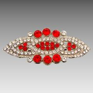 Elegant Art Deco long Brooch with crystal and red rhinestones