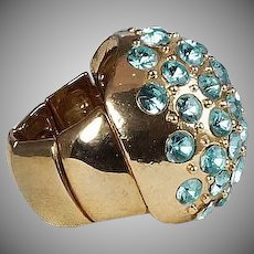 Larger domed shaped Turquoise glass rhinestone ring