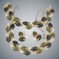 Necklace choker, bracelet & clips molded Lucite translucent with stones