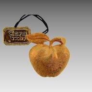 Signed Coro gold tone figural apple brooch