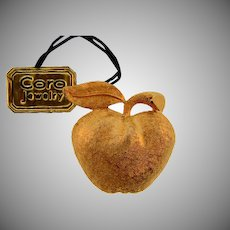 Signed Coro gold tone figural apple brooch